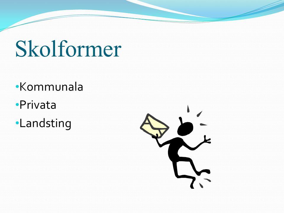 Skolformer • Kommunala • Privata • Landsting