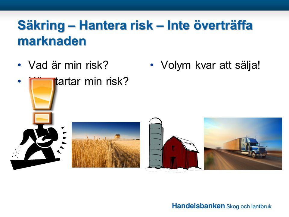Säkring – Hantera risk – Inte överträffa marknaden •Vad är min risk? •När startar min risk? •Volym kvar att sälja!