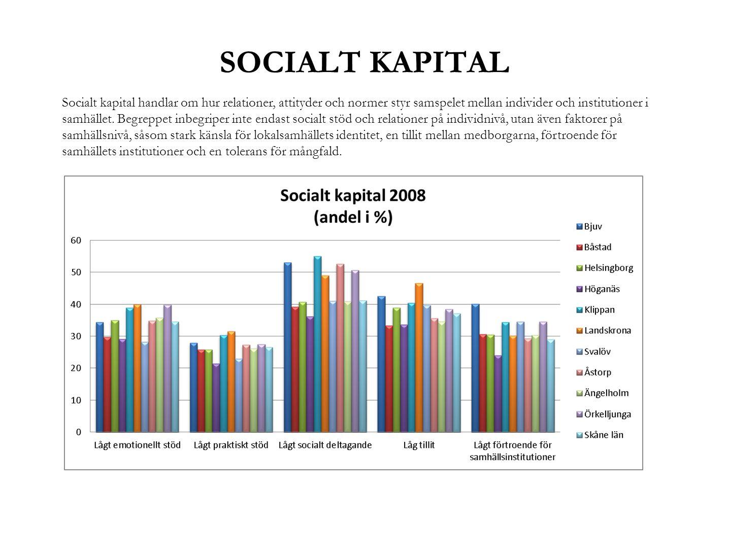 SOCIALT KAPITAL Socialt kapital handlar om hur relationer, attityder och normer styr samspelet mellan individer och institutioner i samhället. Begrepp