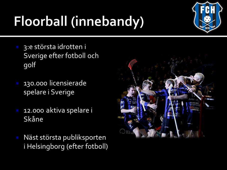  3:e största idrotten i Sverige efter fotboll och golf  130.000 licensierade spelare i Sverige  12.000 aktiva spelare i Skåne  Näst största publiksporten i Helsingborg (efter fotboll)