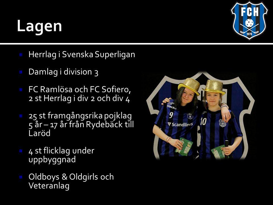  Herrlag i Svenska Superligan  Damlag i division 3  FC Ramlösa och FC Sofiero, 2 st Herrlag i div 2 och div 4  25 st framgångsrika pojklag 5 år – 17 år från Rydebäck till Laröd  4 st flicklag under uppbyggnad  Oldboys & Oldgirls och Veteranlag