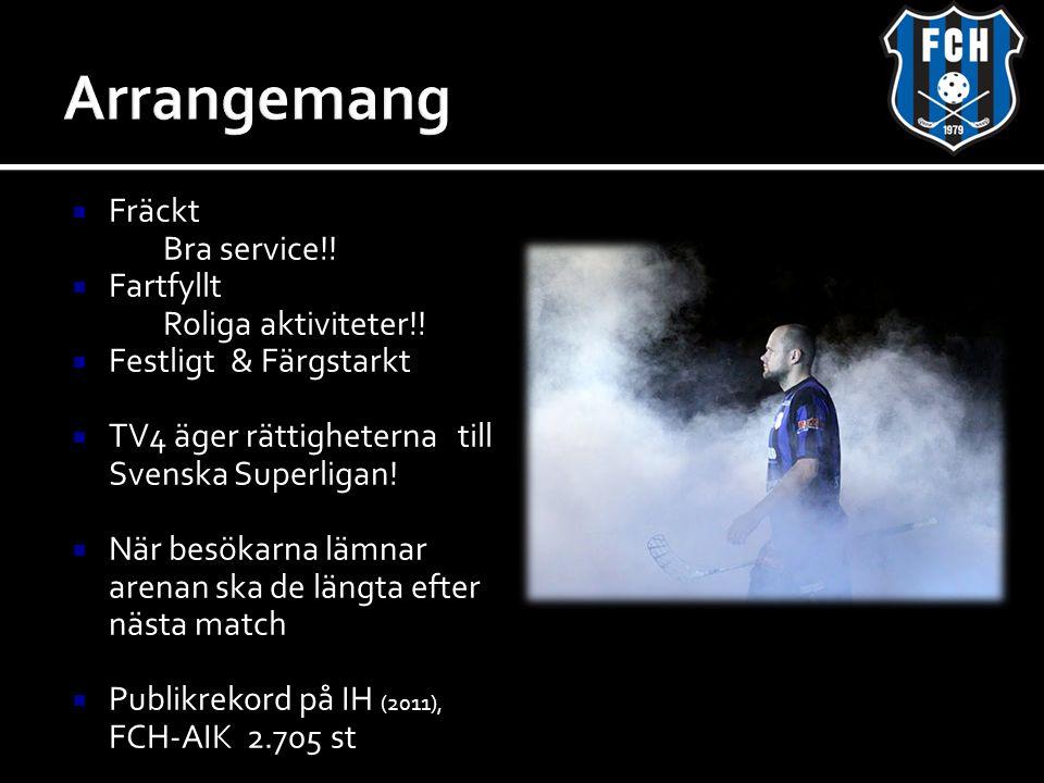  Fräckt Bra service!!  Fartfyllt Roliga aktiviteter!!  Festligt & Färgstarkt  TV4 äger rättigheterna till Svenska Superligan!  När besökarna lämn