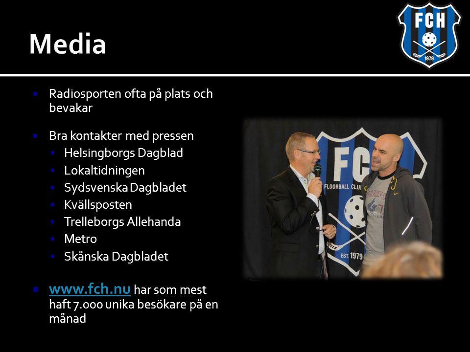  Radiosporten ofta på plats och bevakar  Bra kontakter med pressen  Helsingborgs Dagblad  Lokaltidningen  Sydsvenska Dagbladet  Kvällsposten  Trelleborgs Allehanda  Metro  Skånska Dagbladet  www.fch.nu har som mest haft 7.000 unika besökare på en månad www.fch.nu