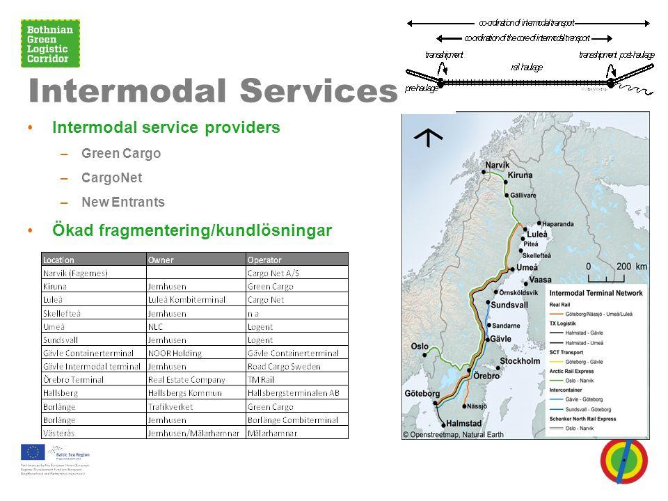 •Intermodal service providers –Green Cargo –CargoNet –New Entrants •Ökad fragmentering/kundlösningar Intermodal Services