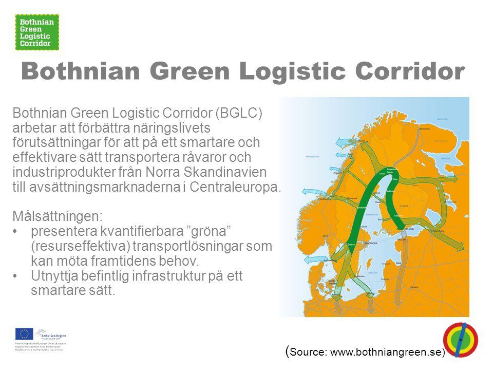 Bothnian Green Logistic Corridor Bothnian Green Logistic Corridor (BGLC) arbetar att förbättra näringslivets förutsättningar för att på ett smartare och effektivare sätt transportera råvaror och industriprodukter från Norra Skandinavien till avsättningsmarknaderna i Centraleuropa.