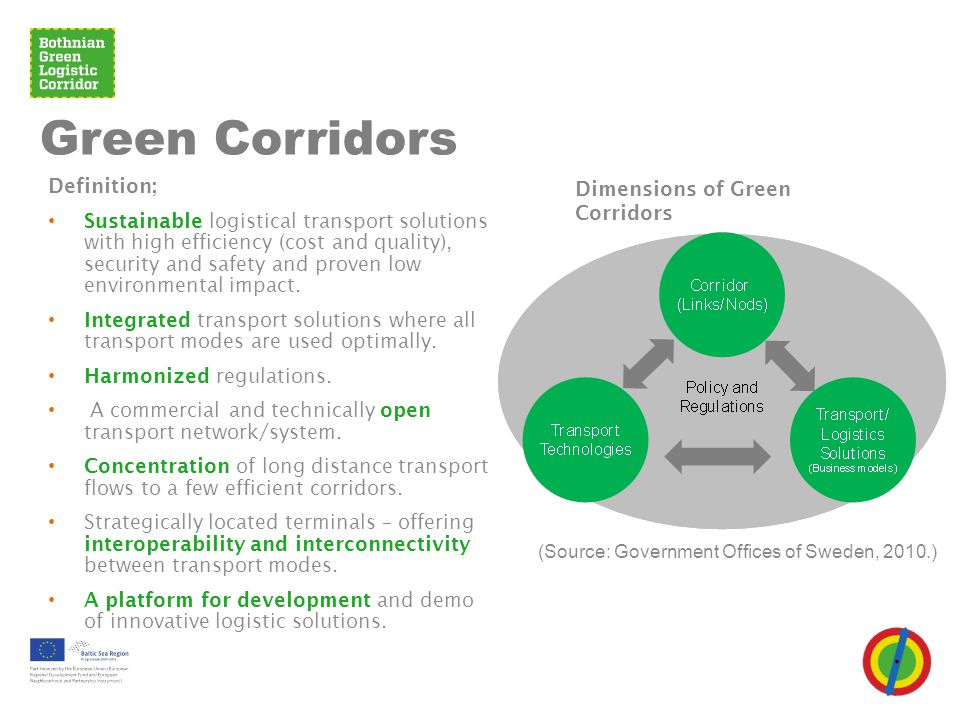 Green Corridors Definition; • Sustainable logistical transport solutions with high efficiency (cost and quality), security and safety and proven low e