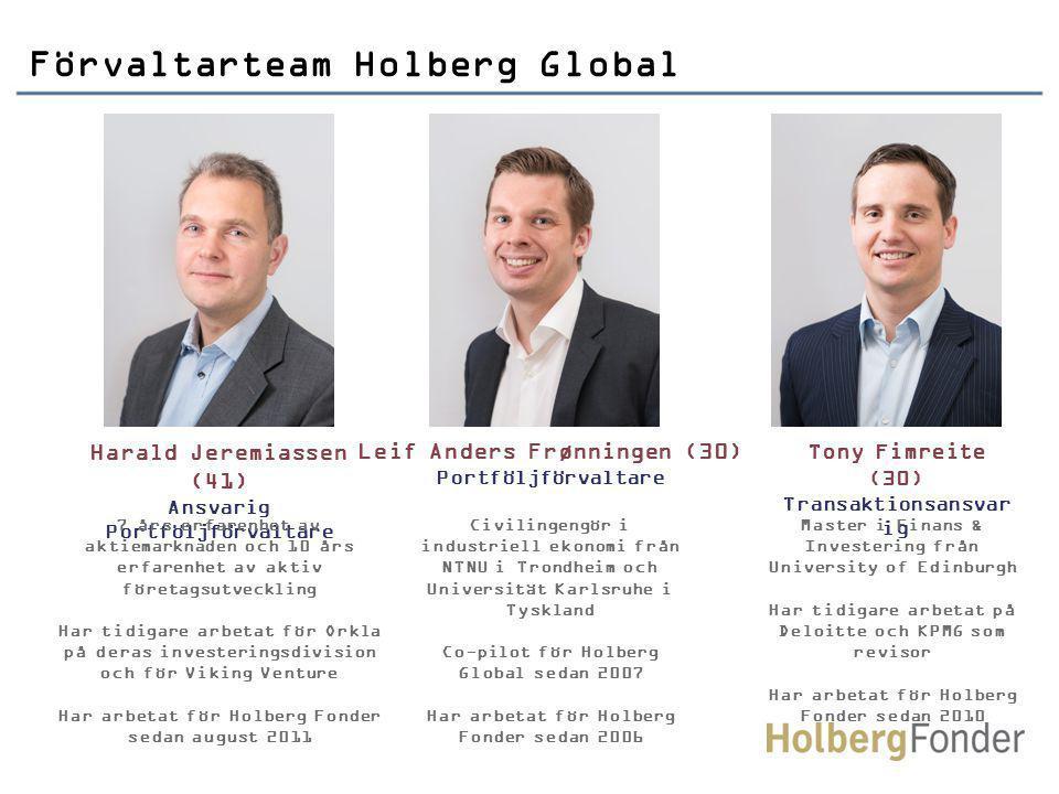 Harald Jeremiassen (41) Ansvarig Portföljförvaltare 7 års erfarenhet av aktiemarknaden och 10 års erfarenhet av aktiv företagsutveckling Har tidigare arbetat för Orkla på deras investeringsdivision och för Viking Venture Har arbetat för Holberg Fonder sedan august 2011 Civilingengör i industriell ekonomi från NTNU i Trondheim och Universität Karlsruhe i Tyskland Co-pilot för Holberg Global sedan 2007 Har arbetat för Holberg Fonder sedan 2006 Förvaltarteam Holberg Global Leif Anders Frønningen (30) Portföljförvaltare Tony Fimreite (30) Transaktionsansvar ig Master i Finans & Investering från University of Edinburgh Har tidigare arbetat på Deloitte och KPMG som revisor Har arbetat för Holberg Fonder sedan 2010