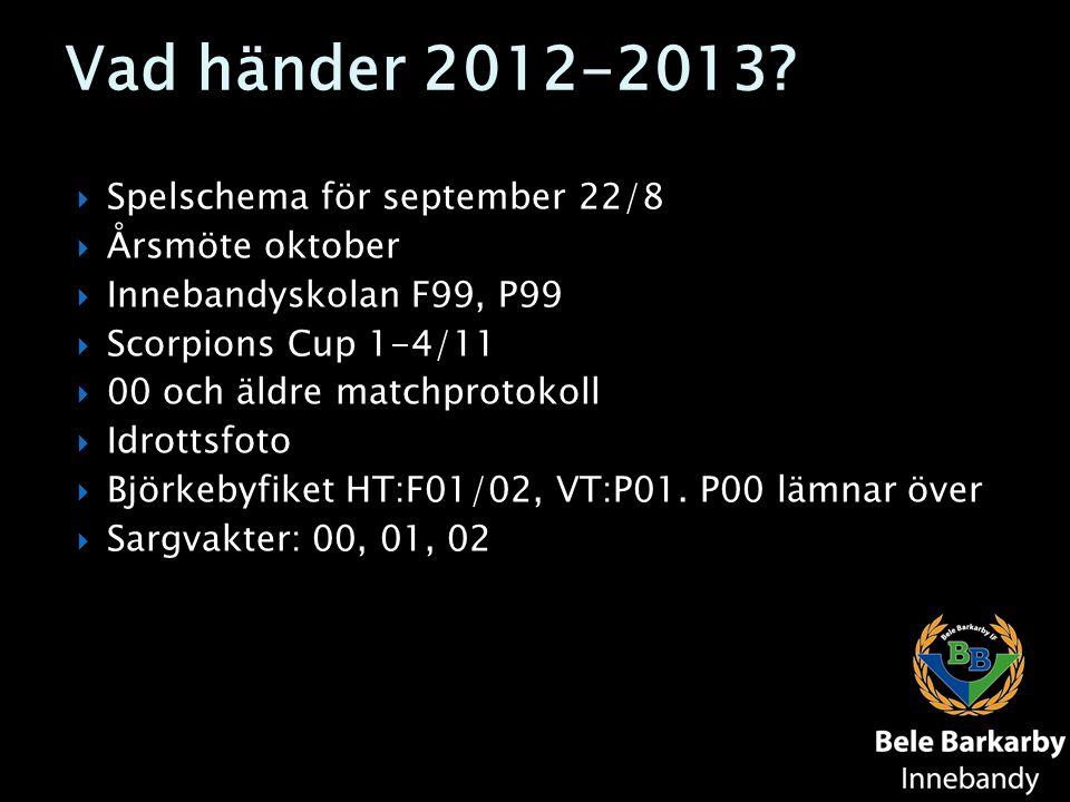 Vad händer 2012-2013?  Spelschema för september 22/8  Årsmöte oktober  Innebandyskolan F99, P99  Scorpions Cup 1-4/11  00 och äldre matchprotokol