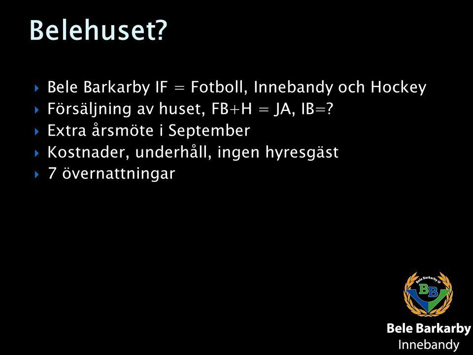 Belehuset?  Bele Barkarby IF = Fotboll, Innebandy och Hockey  Försäljning av huset, FB+H = JA, IB=?  Extra årsmöte i September  Kostnader, underhå