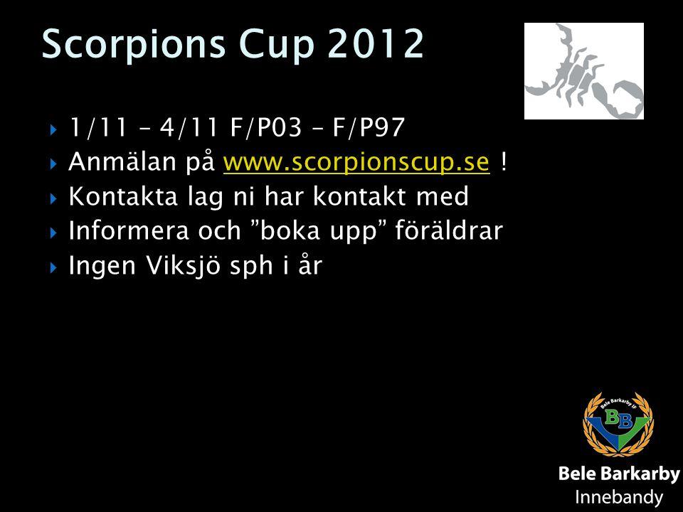 Scorpions Cup 2012  1/11 – 4/11 F/P03 – F/P97  Anmälan på www.scorpionscup.se !www.scorpionscup.se  Kontakta lag ni har kontakt med  Informera och