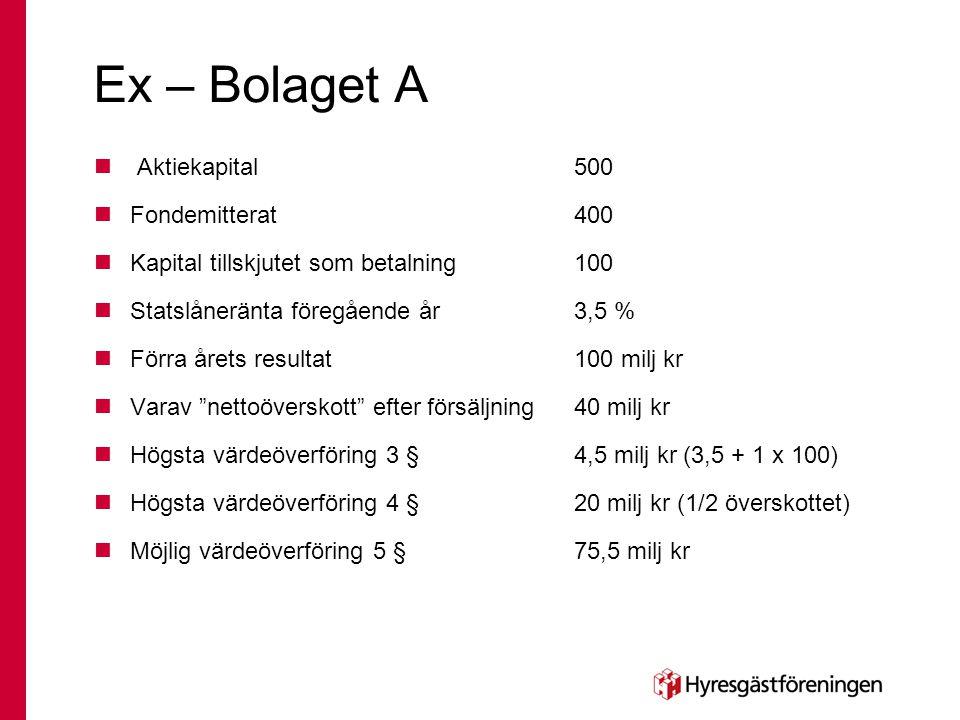 Ex – Bolaget A  Aktiekapital 500  Fondemitterat400  Kapital tillskjutet som betalning 100  Statslåneränta föregående år3,5 %  Förra årets resulta