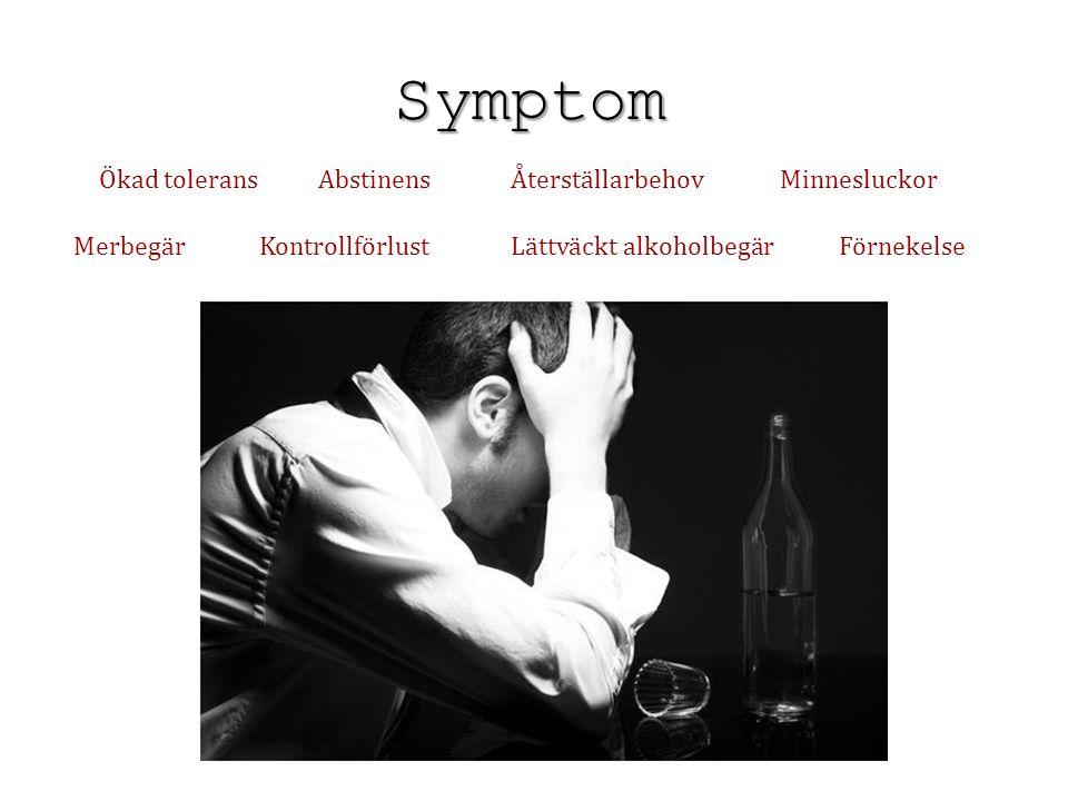 Symptom Ökad toleransAbstinensÅterställarbehovMinnesluckor MerbegärKontrollförlustLättväckt alkoholbegärFörnekelse