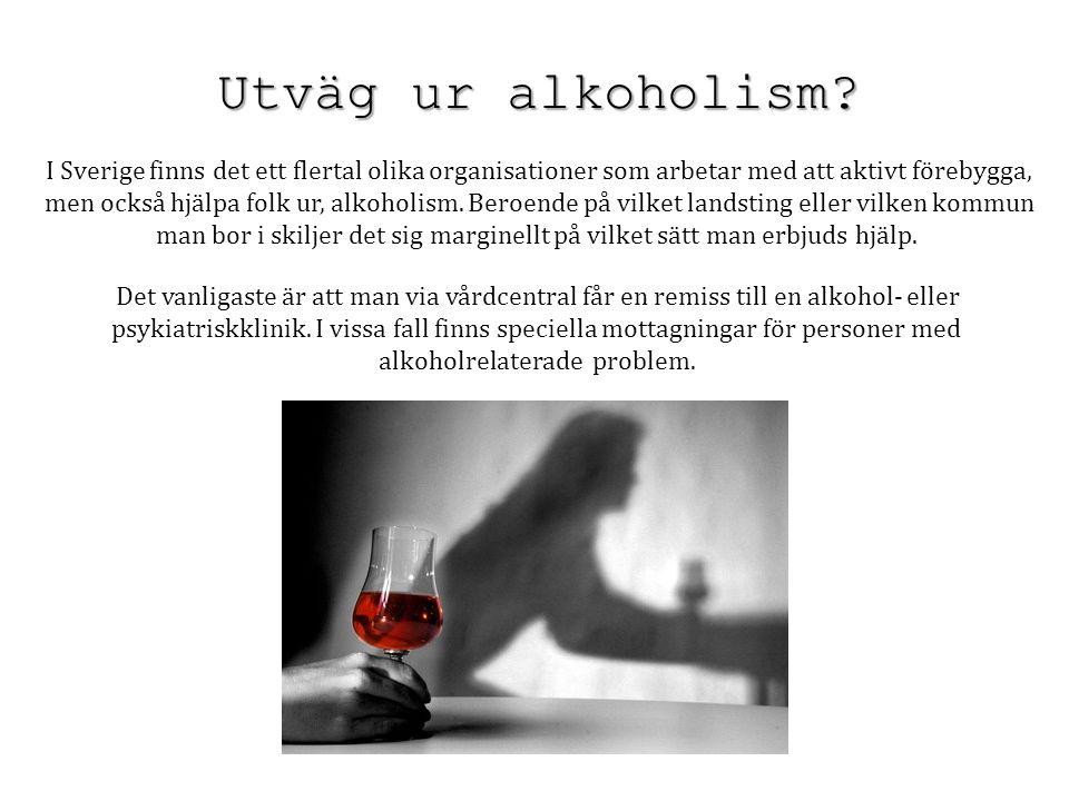 Utväg ur alkoholism? I Sverige finns det ett flertal olika organisationer som arbetar med att aktivt förebygga, men också hjälpa folk ur, alkoholism.