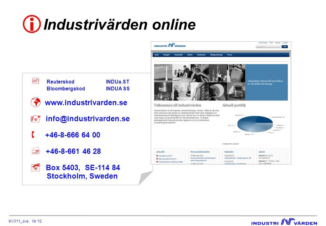 KV311_sve Nr 12 Industrivärden online   ReuterskodINDUa.ST BloombergskodINDUA SS  www.industrivarden.se  info@industrivarden.se  +46-8-666 64 00  +46-8-661 46 28  Box 5403, SE-114 84 Stockholm, Sweden