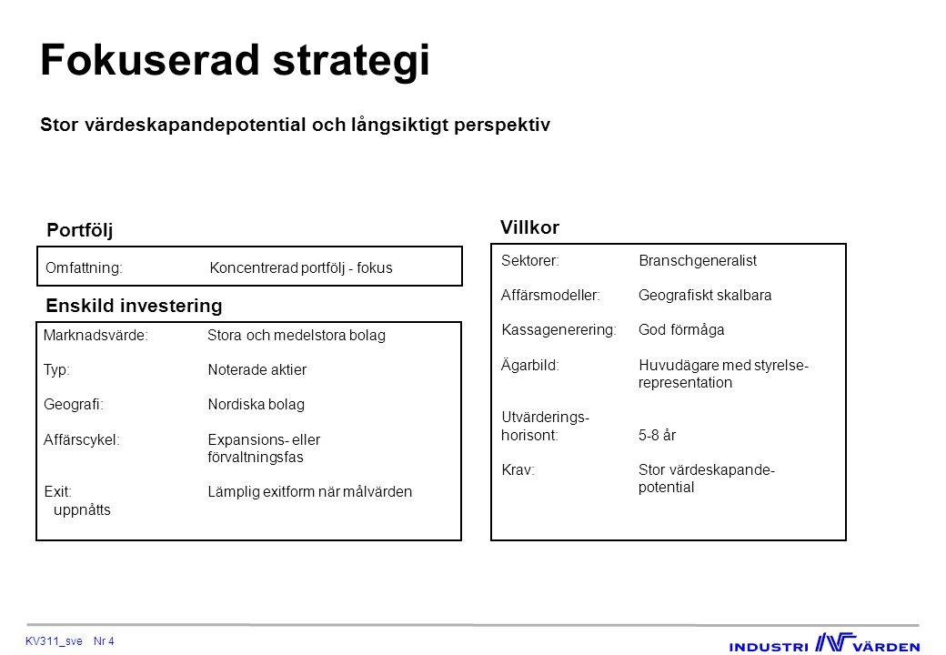 KV311_sve Nr 4 Fokuserad strategi Villkor Sektorer:Branschgeneralist Affärsmodeller:Geografiskt skalbara Kassagenerering:God förmåga Ägarbild:Huvudäga