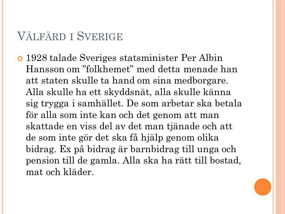 """V ÄLFÄRD I S VERIGE 1928 talade Sveriges statsminister Per Albin Hansson om """"folkhemet"""" med detta menade han att staten skulle ta hand om sina medborg"""