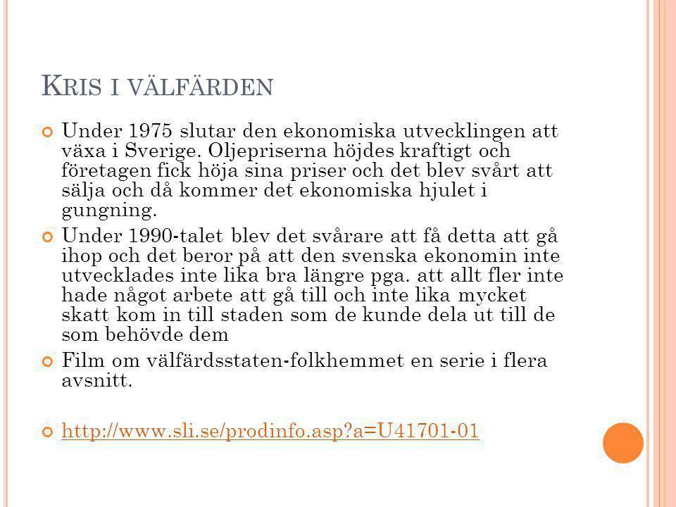 K RIS I VÄLFÄRDEN Under 1975 slutar den ekonomiska utvecklingen att växa i Sverige. Oljepriserna höjdes kraftigt och företagen fick höja sina priser o