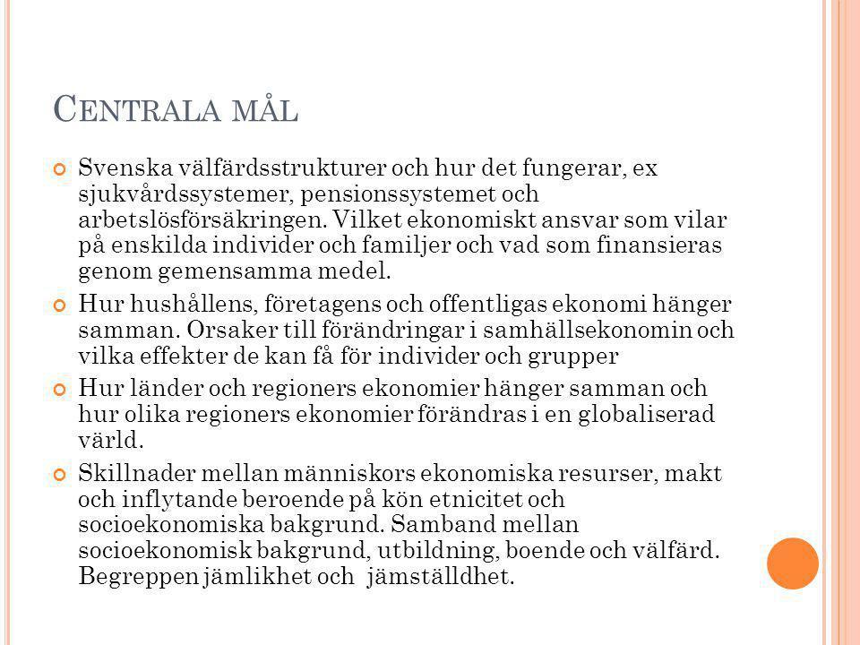 C ENTRALA MÅL Svenska välfärdsstrukturer och hur det fungerar, ex sjukvårdssystemer, pensionssystemet och arbetslösförsäkringen. Vilket ekonomiskt ans