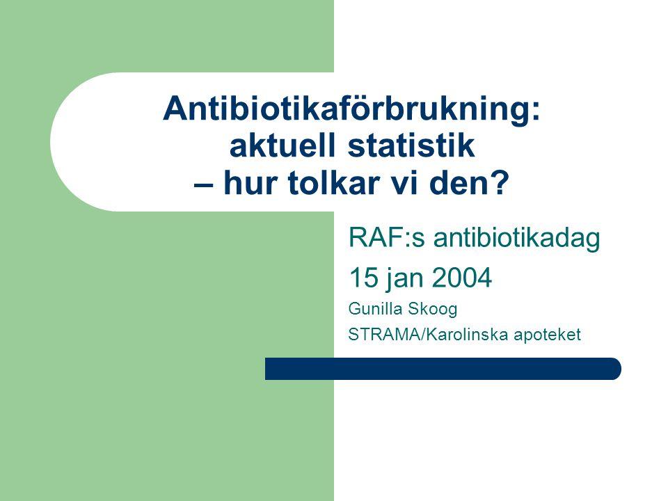 Antibiotikaförbrukning: aktuell statistik – hur tolkar vi den? RAF:s antibiotikadag 15 jan 2004 Gunilla Skoog STRAMA/Karolinska apoteket