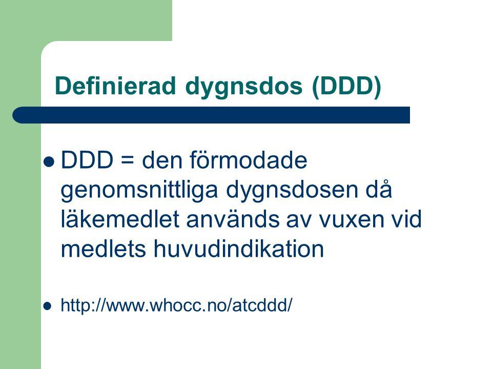 Definierad dygnsdos (DDD)  DDD = den förmodade genomsnittliga dygnsdosen då läkemedlet används av vuxen vid medlets huvudindikation  http://www.whoc
