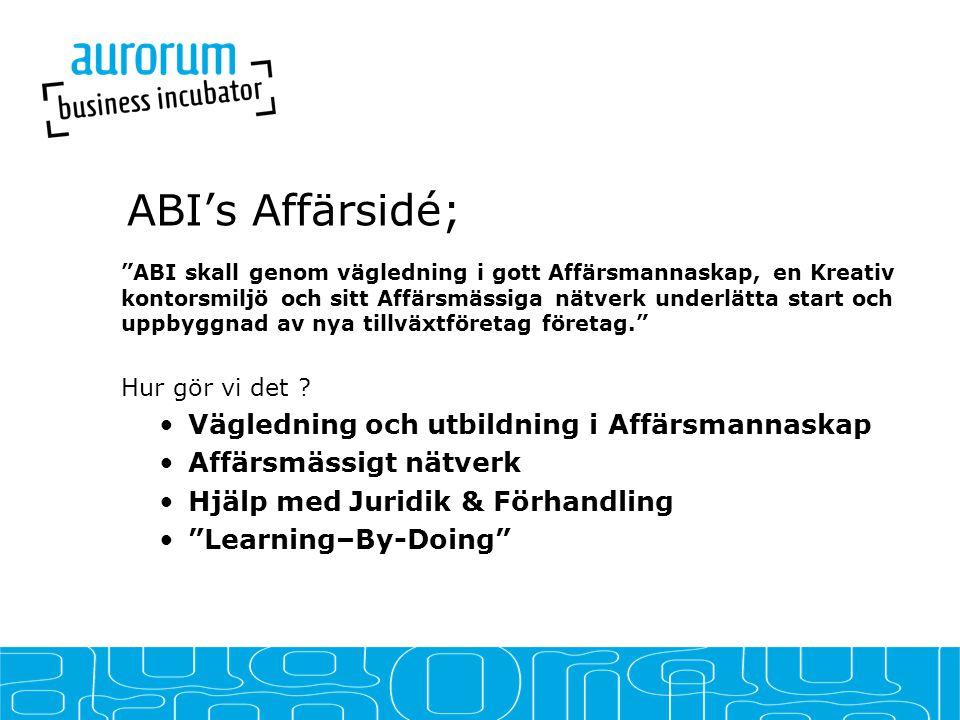 ABI's Affärsidé; ABI skall genom vägledning i gott Affärsmannaskap, en Kreativ kontorsmiljö och sitt Affärsmässiga nätverk underlätta start och uppbyggnad av nya tillväxtföretag företag. Hur gör vi det .