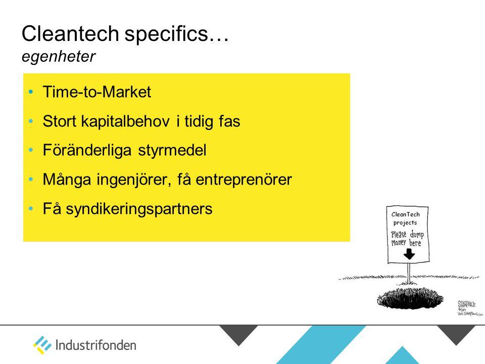 Cleantech specifics… egenheter •Time-to-Market •Stort kapitalbehov i tidig fas •Föränderliga styrmedel •Många ingenjörer, få entreprenörer •Få syndike