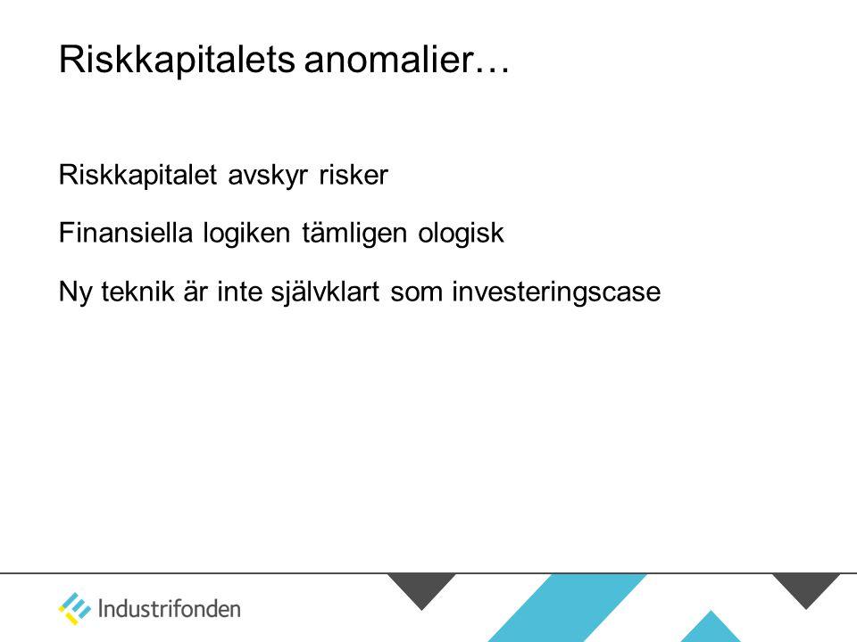 Riskkapitalets anomalier… Riskkapitalet avskyr risker Finansiella logiken tämligen ologisk Ny teknik är inte självklart som investeringscase