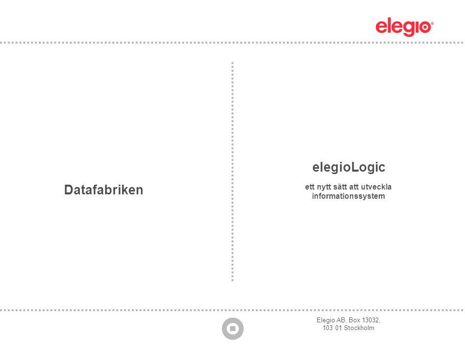 Elegio AB, Box 13032, 103 01 Stockholm elegioLogic ett nytt sätt att utveckla informationssystem Datafabriken