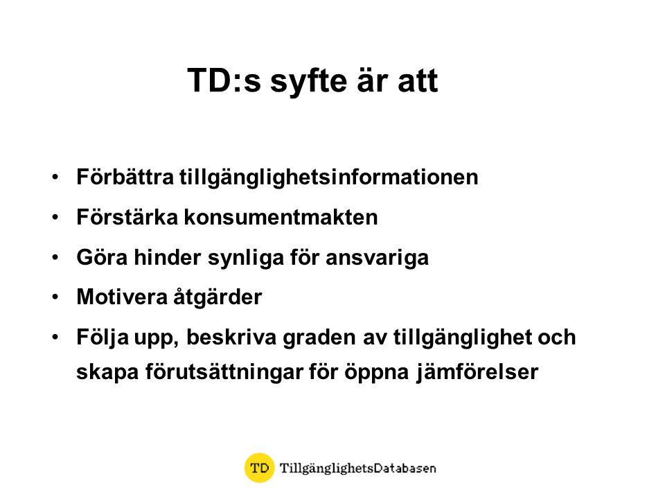 TD:s syfte är att •Förbättra tillgänglighetsinformationen •Förstärka konsumentmakten •Göra hinder synliga för ansvariga •Motivera åtgärder •Följa upp, beskriva graden av tillgänglighet och skapa förutsättningar för öppna jämförelser