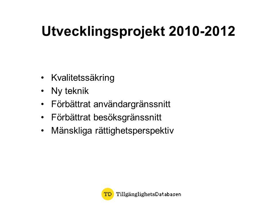 Utvecklingsprojekt 2010-2012 •Kvalitetssäkring •Ny teknik •Förbättrat användargränssnitt •Förbättrat besöksgränssnitt •Mänskliga rättighetsperspektiv