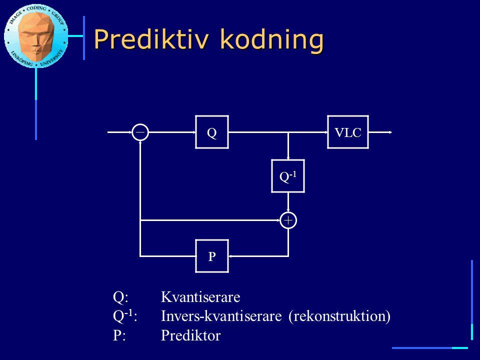 Prediktiv kodning Q Q -1 VLC P Q:Kvantiserare Q -1 :Invers-kvantiserare (rekonstruktion) P:Prediktor