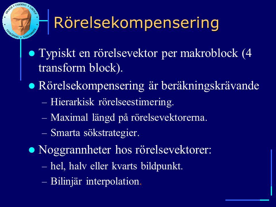 Rörelsekompensering  Typiskt en rörelsevektor per makroblock (4 transform block).  Rörelsekompensering är beräkningskrävande – Hierarkisk rörelseest