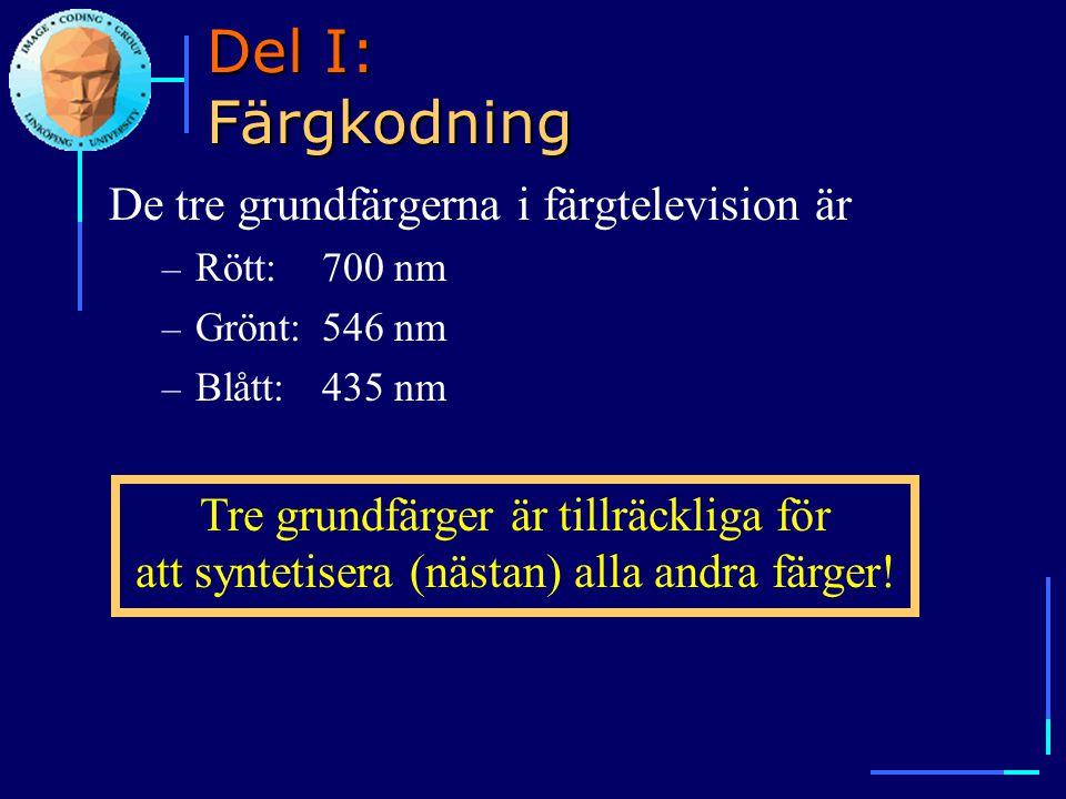 Del I: Färgkodning De tre grundfärgerna i färgtelevision är – Rött:700 nm – Grönt:546 nm – Blått:435 nm Tre grundfärger är tillräckliga för att syntet