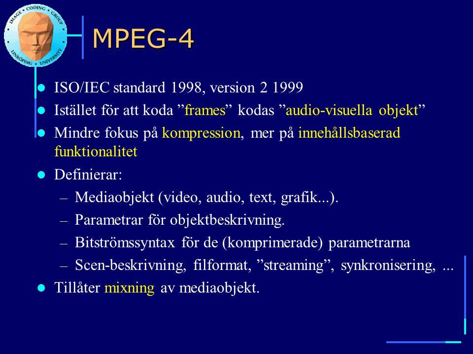 """MPEG-4  ISO/IEC standard 1998, version 2 1999  Istället för att koda """"frames"""" kodas """"audio-visuella objekt""""  Mindre fokus på kompression, mer på in"""