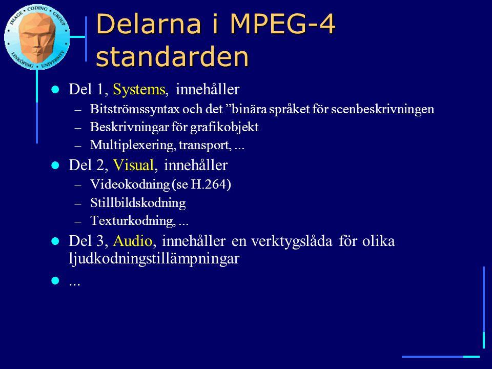 """Delarna i MPEG-4 standarden  Del 1, Systems, innehåller – Bitströmssyntax och det """"binära språket för scenbeskrivningen – Beskrivningar för grafikobj"""