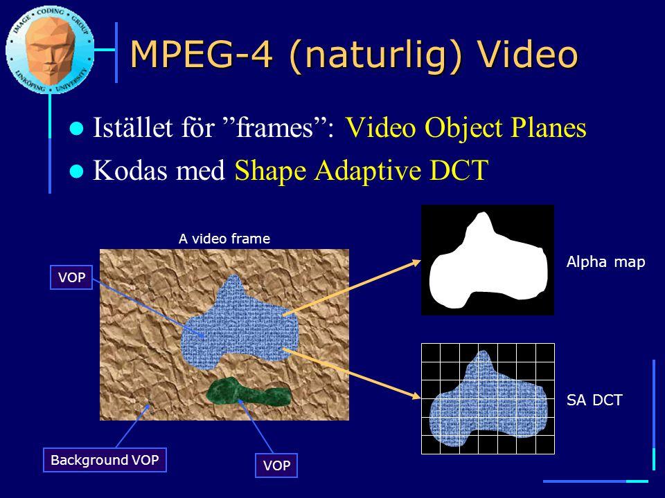 "A video frame Background VOP VOP MPEG-4 (naturlig) Video  Istället för ""frames"": Video Object Planes  Kodas med Shape Adaptive DCT Alpha mapSA DCT"