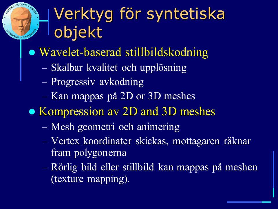 Verktyg för syntetiska objekt  Wavelet-baserad stillbildskodning – Skalbar kvalitet och upplösning – Progressiv avkodning – Kan mappas på 2D or 3D me