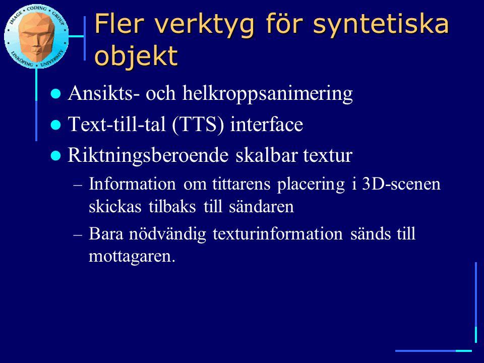Fler verktyg för syntetiska objekt  Ansikts- och helkroppsanimering  Text-till-tal (TTS) interface  Riktningsberoende skalbar textur – Information
