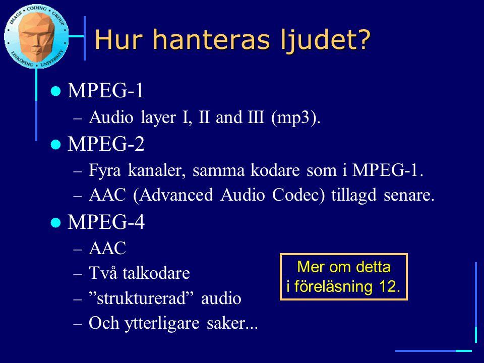 Hur hanteras ljudet?  MPEG-1 – Audio layer I, II and III (mp3).  MPEG-2 – Fyra kanaler, samma kodare som i MPEG-1. – AAC (Advanced Audio Codec) till