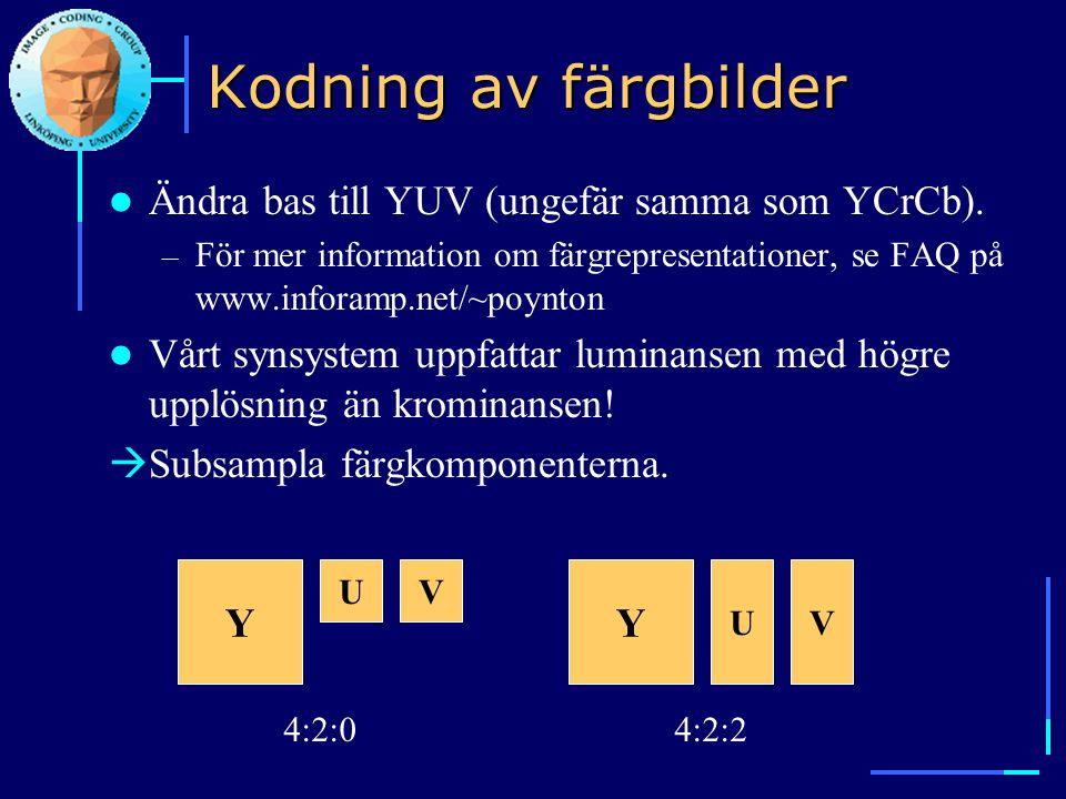 MPEG-4  ISO/IEC standard 1998, version 2 1999  Istället för att koda frames kodas audio-visuella objekt  Mindre fokus på kompression, mer på innehållsbaserad funktionalitet  Definierar: – Mediaobjekt (video, audio, text, grafik...).