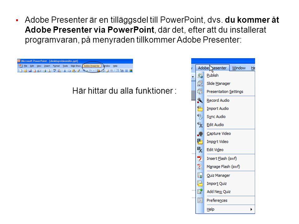  Adobe Presenter är en tilläggsdel till PowerPoint, dvs.
