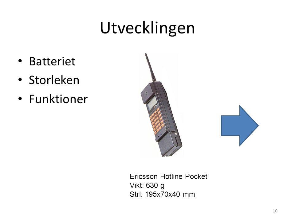 Utvecklingen • Batteriet • Storleken • Funktioner 10 Ericsson Hotline Pocket Vikt: 630 g Strl: 195x70x40 mm