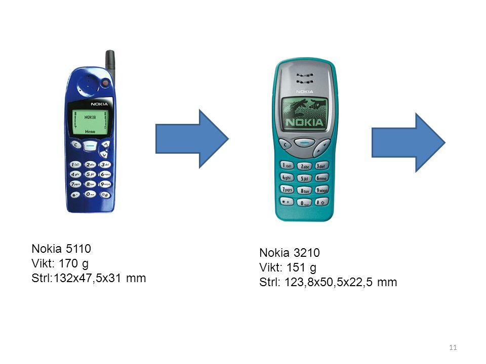 11 Nokia 5110 Vikt: 170 g Strl:132x47,5x31 mm Nokia 3210 Vikt: 151 g Strl: 123,8x50,5x22,5 mm