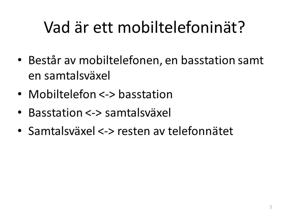 Vad är ett mobiltelefoninät? • Består av mobiltelefonen, en basstation samt en samtalsväxel • Mobiltelefon basstation • Basstation samtalsväxel • Samt