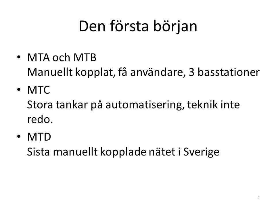 Den första början • MTA och MTB Manuellt kopplat, få användare, 3 basstationer • MTC Stora tankar på automatisering, teknik inte redo. • MTD Sista man
