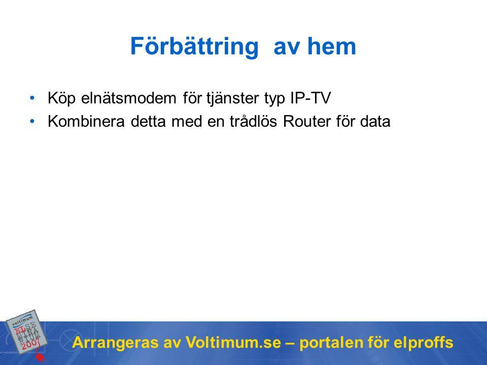 Arrangeras av Voltimum.se – portalen för elproffs Förbättring av hem •Köp elnätsmodem för tjänster typ IP-TV •Kombinera detta med en trådlös Router för data