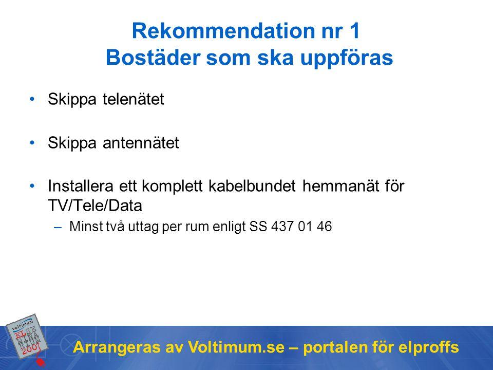 Arrangeras av Voltimum.se – portalen för elproffs Rekommendation nr 1 Bostäder som ska uppföras •Skippa telenätet •Skippa antennätet •Installera ett komplett kabelbundet hemmanät för TV/Tele/Data –Minst två uttag per rum enligt SS 437 01 46