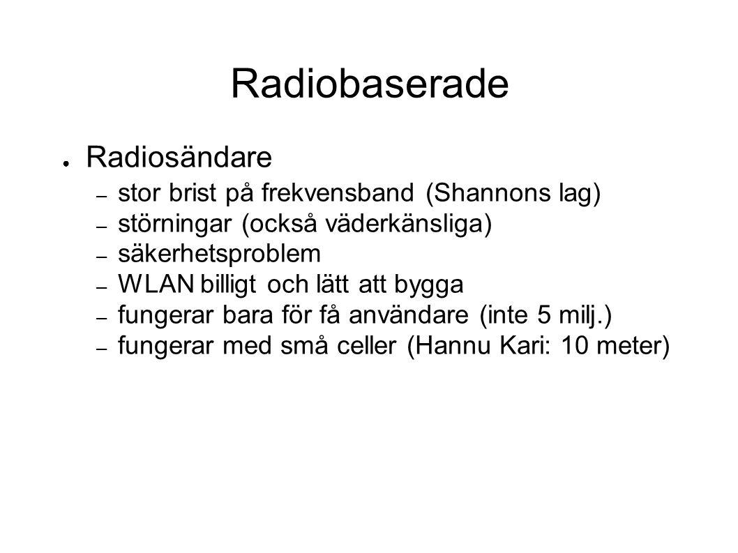 Radiobaserade ● Radiosändare – stor brist på frekvensband (Shannons lag) – störningar (också väderkänsliga) – säkerhetsproblem – WLAN billigt och lätt att bygga – fungerar bara för få användare (inte 5 milj.) – fungerar med små celler (Hannu Kari: 10 meter)