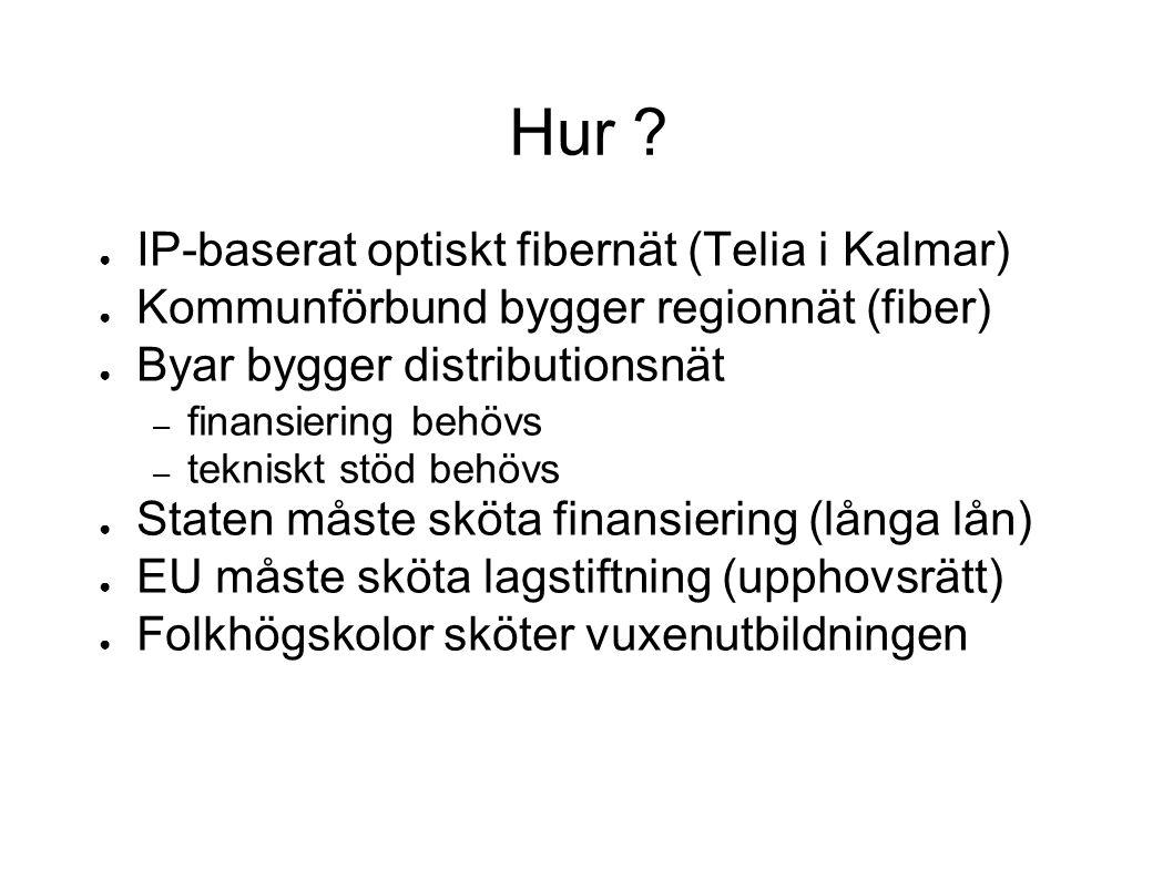 Hur ? ● IP-baserat optiskt fibernät (Telia i Kalmar) ● Kommunförbund bygger regionnät (fiber) ● Byar bygger distributionsnät – finansiering behövs – t