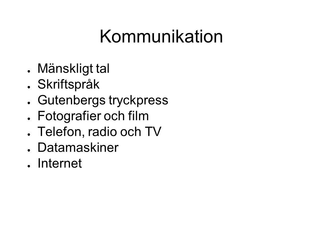 Kommunikation ● Mänskligt tal ● Skriftspråk ● Gutenbergs tryckpress ● Fotografier och film ● Telefon, radio och TV ● Datamaskiner ● Internet